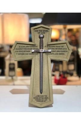 Cross Wall Cast Stone Word of God Sword