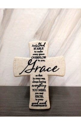 Cross Desktop Cast Stone Scripture Grace