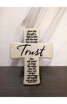Cross Desktop Cast Stone Scripture Trust