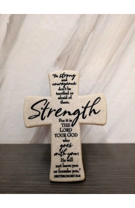 Cross Desktop Cast Stone Scripture Strength