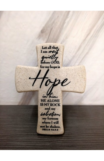 HOPE DESKTOP CROSS CAST STONE