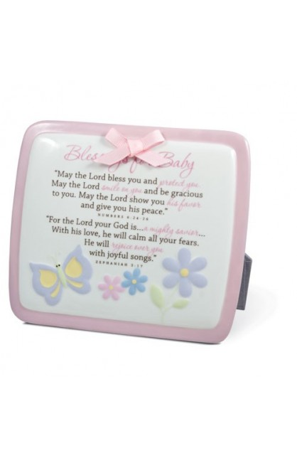 BLESSINGS FOR BABY PINK PLAQUE