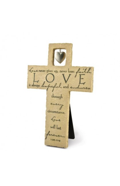 LOVE IS LARGE RESIN CROSS