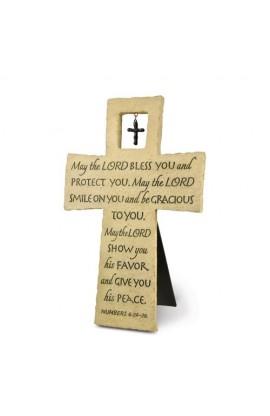 Cross Wall/Desktop Cast Stone Bless You w/Cross Charm