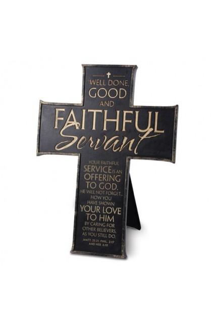 FAITHFUL SERVANT RESIN BLACK CROSS