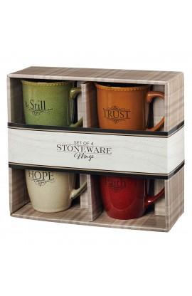 Mug Ceramic Set Faith Trust Hope Be Still