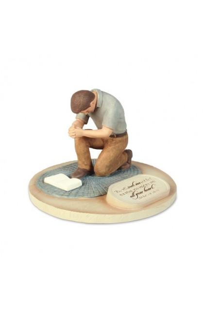 PRAYING MAN CAST STONE SCULPTURE