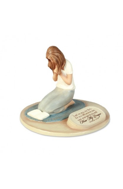 PRAYING WOMAN CAST STONE SCULPTURE
