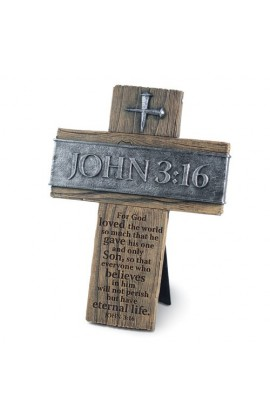 Cross Wall Desktop Cast Stone John 3:16