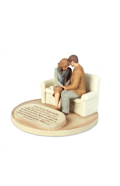 PRAYING COUPLE CAST STONE SCULPTURE