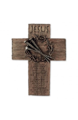 Cross Wall Cast Stone Jesus Crown of Thorns