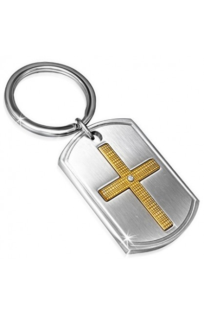 STAINLESS STEEL 2 TONE CROSS TAG KEY CHAIN