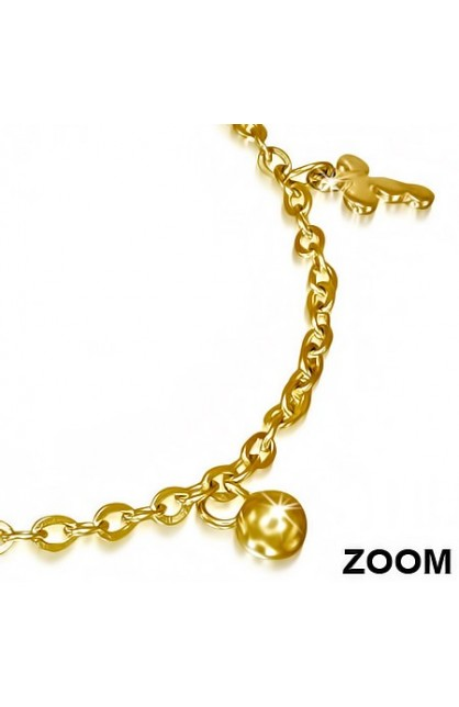 GOLD COLOR PLATED STAINLESS STEEL MEDIEVAL CROSS BALL CIRCLE CHARM LINK CHAIN BRACELET