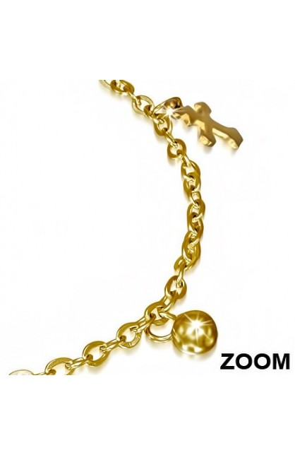 GOLD COLOR PLATED STAINLESS STEEL MALTESE CROSS BALL CIRCLE CHARM LINK CHAIN BRACELET