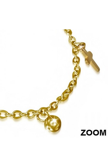 GOLD COLOR PLATED STAINLESS STEEL LATIN CROSS BALL CIRCLE CHARM LINK CHAIN BRACELET