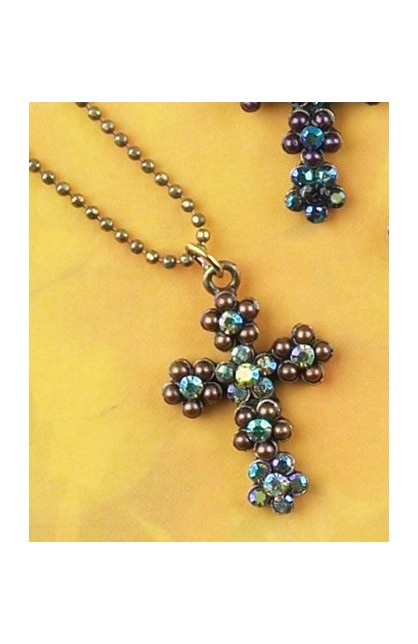 GREEN FLORAL STONE CROSS NECKLACE