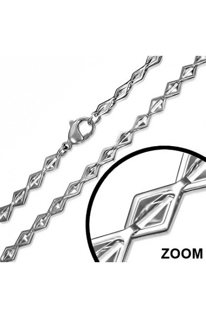 STAINLESS STEEL LOBSTER CLAW CLASP GEOMETRIC SQUARE LINK CHAIN