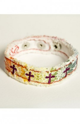 RAINBOW & CROSSES CHERISHED CANVAS BRACELET