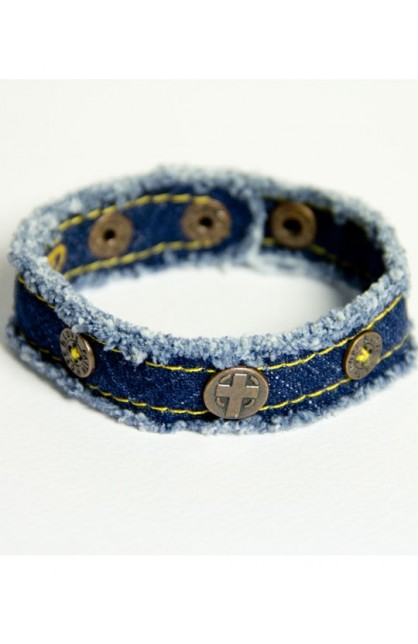 DENIM CROSS CHERISHED CANVAS BRACELET