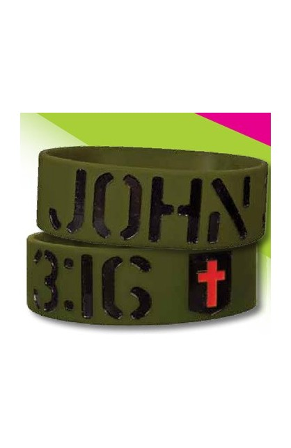 JOHN 3:16 WIDE SILICONE BRACELET