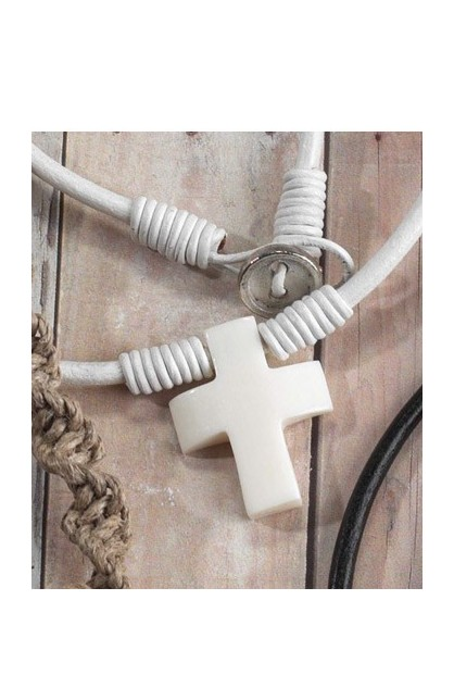 IVORY CROSS LEATHER TAG NECKLACE