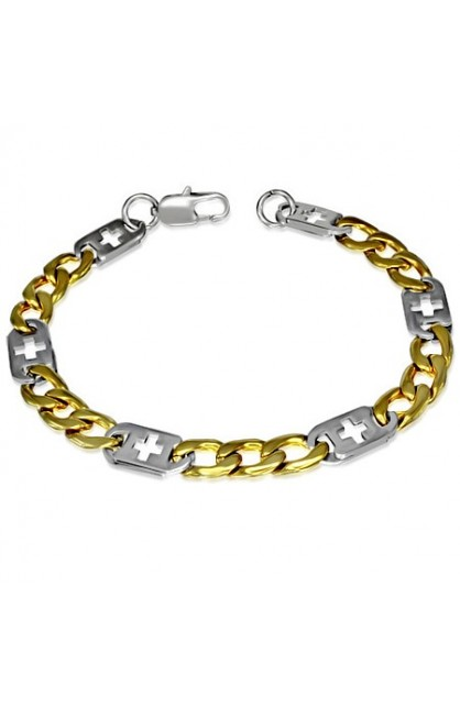 STAINLESS STEEL 2 TONE LOBSTER CLAW CLASP CUT OUT FIGARO LINK BRACELET