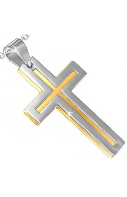 STAINLESS STEEL 2 TONE LATIN CROSS MATTE FINISH PENDANT