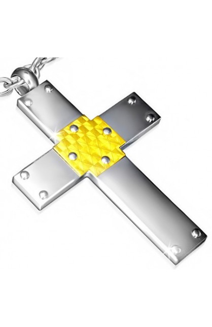 STAINLESS STEEL 2 TONE LARGE LATIN CROSS PENDANT WITH CARBON FIBER
