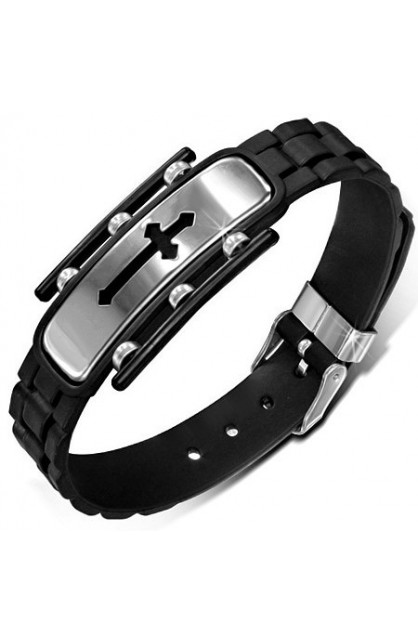 BLACK RUBBER BELT BUCKLE BRACELET WITH STAINLESS STEEL CUT OUT MEDIEVAL CROSS WATCH STYLE