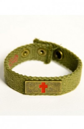BRONZE CROSS FAITH GEAR CANVAS BRACELET