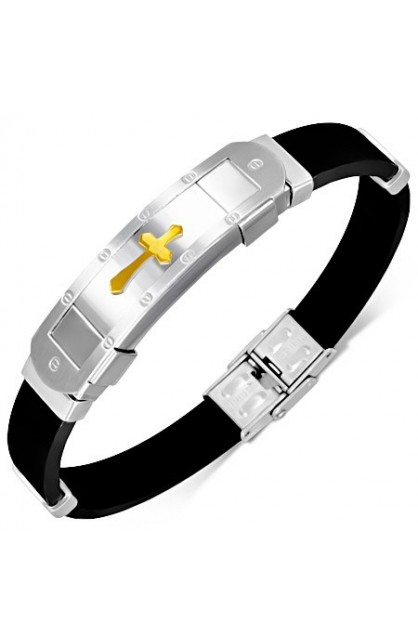 BLACK RUBBER BRACELET WITH STAINLESS STEEL 2 TONE MALTESE CROSS WATCH STYLE