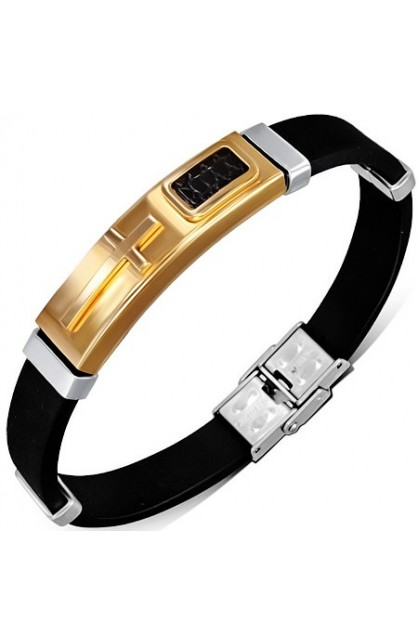 BLACK RUBBER BRACELET WITH STAINLESS STEEL 2 TONE LEATHER LATIN CROSS WATCH STYLE