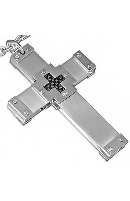 STAINLESS STEEL 2 TONE GEOMETRIC DOUBLE CROSS PENDANT WITH CARBON FIBER
