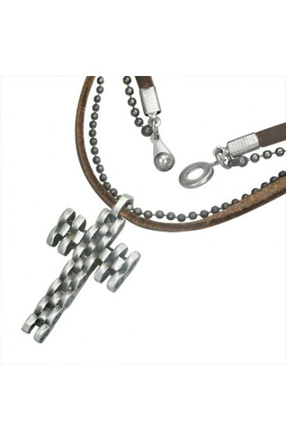 FASHION ALLOY GEOMETRIC LATIN CROSS CHARM MILITARY BALL LINK LEATHER NECKLACE