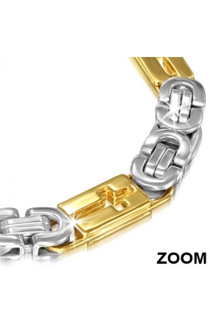 STAINLESS STEEL 2 TONE LOBSTER CLAW CLASP CLOSURE CUT OUT LATIN CROSS BYZANTINE LINK CHAIN BRACELET