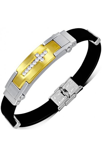 BLACK RUBBER BRACELET WITH STAINLESS STEEL 2 TONE LATIN CROSS WATCH STYLE & CLEAR CZ