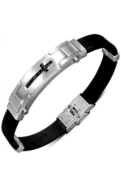 BLACK RUBBER BRACELET WITH STAINLESS STEEL CUT OUT LATIN CROSS WATCH STYLE
