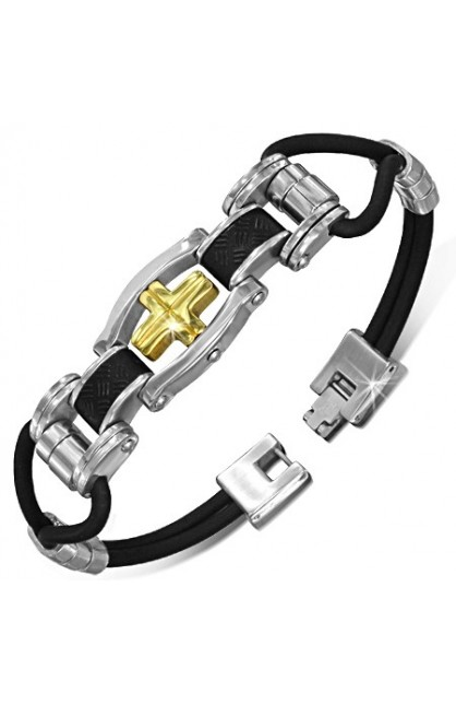 BLACK RUBBER BRACELET WITH STAINLESS STEEL 2 TONE LATIN CROSS WATCH STYLE