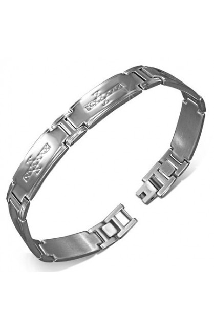 STAINLESS STEEL CROSS PANTHER LINK BRACELET