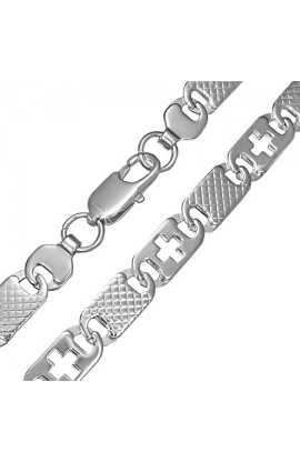 STAINLESS STEEL LOBSTER CLAW CLASP CUT OUT CROSS GRID OVAL TAG LINK CHAIN