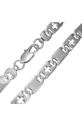 STAINLESS STEEL LOBSTER CLAW CLASP CUT-OUT CROSS DIAGONAL OVAL TAG LINK CHAIN