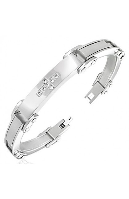 STAINLESS STEEL PAVE SET CROSS WATCH STYLE BRACELET