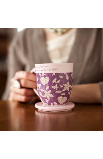 EVERYTHING BEAUTIFUL TEACUP WITH LID