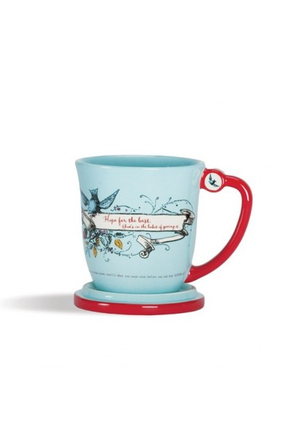 HOPE FOR THE BEST TEACUP WITH LID