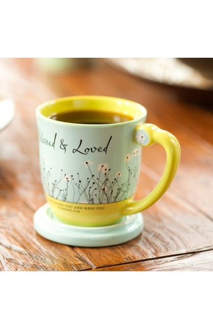 BLESSED & LOVED TEACUP WITH LID