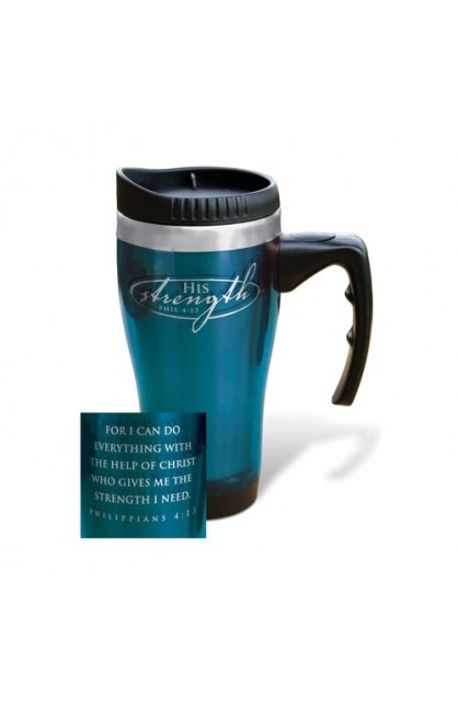 HIS STRENGTH STAINLESS STEEL TRAVEL MUG