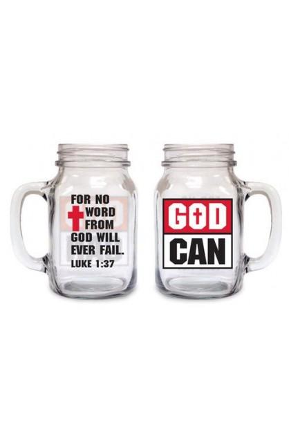 GOD CAN OLD FASHIONED DRINKING JAR
