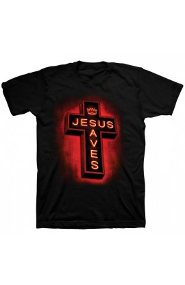 JESUS SAVES NEON ADULT T SHIRT