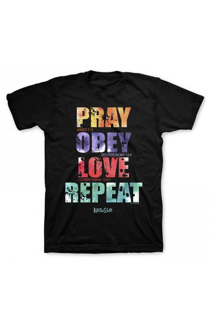 PRAY OBEY LOVE REPEAT ADUL T-SHIRT