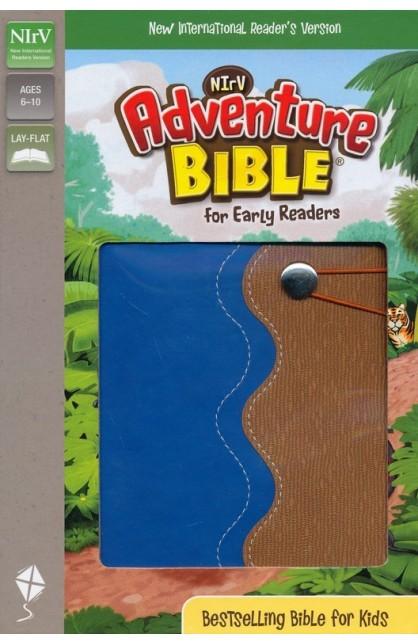 NIRV ADVENTURE BIBLE FOR EARLY READERS BLUE TAN ITALIAN DUO TONE